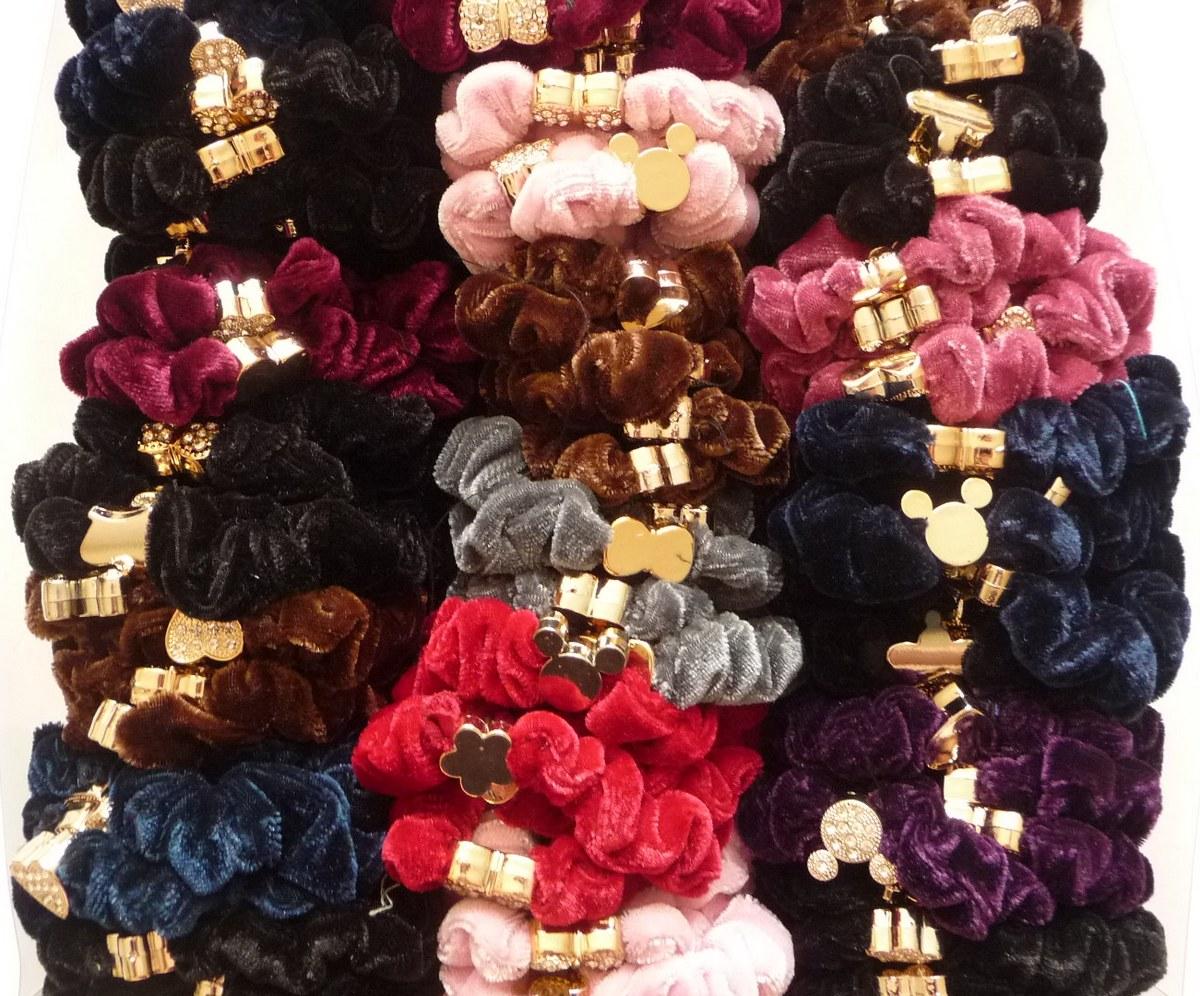 Набор тонких велюровый резинок для волос 3785008