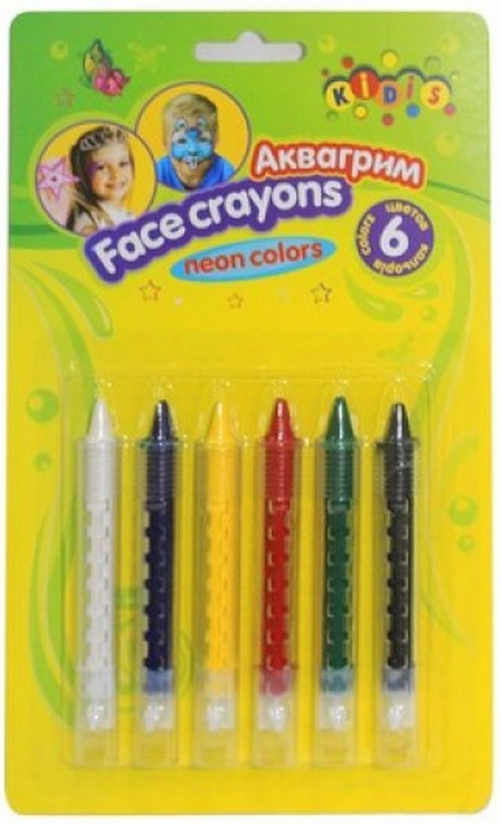 kidis Краска Аква-грим в карандашах 6 цветов 7765